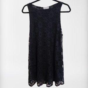 3/$25 A Line Trapeze Floral Lace Black Dress